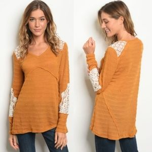 Tops - Boho Tunic Top Mustard and Ivory Lace Long Sleeve